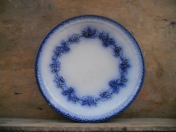Vintage Swedish GEFLE Mullbar (Mulberry) plate Antique Fruit plate White blue grape plate
