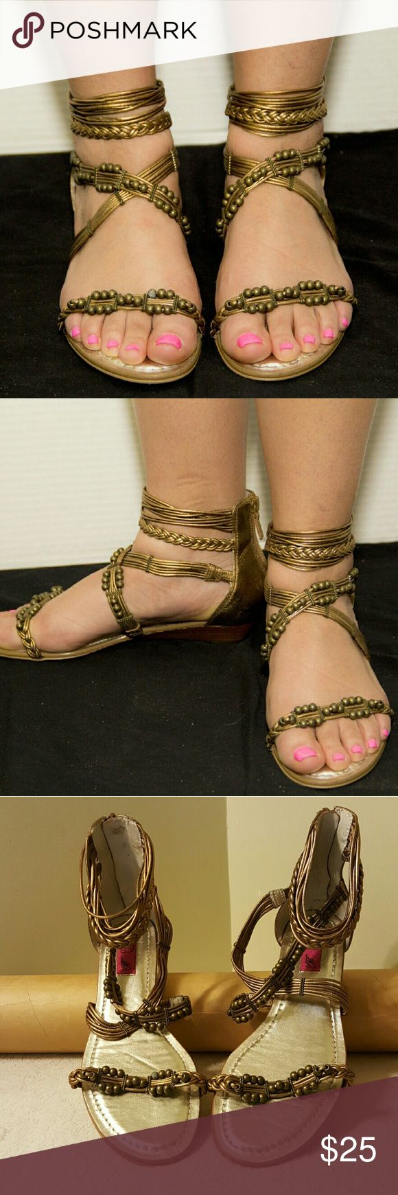 """Chi by Felchi  """"Tricia""""  leather gladiator sandals These are """"Coppertone"""" studded and also braided detail sandal. It has a zip up the back with cushioned soles. Cute and comfy. NWOT Chi by Felchi Shoes Sandals"""