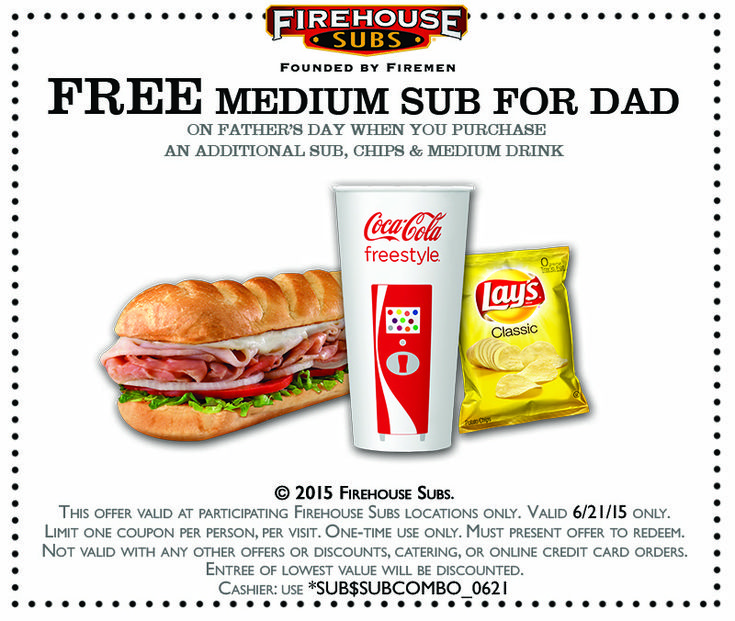 Pinned June 18th: Second sub free for #Dad Sunday at Firehouse Subs #coupon via The #Coupons App