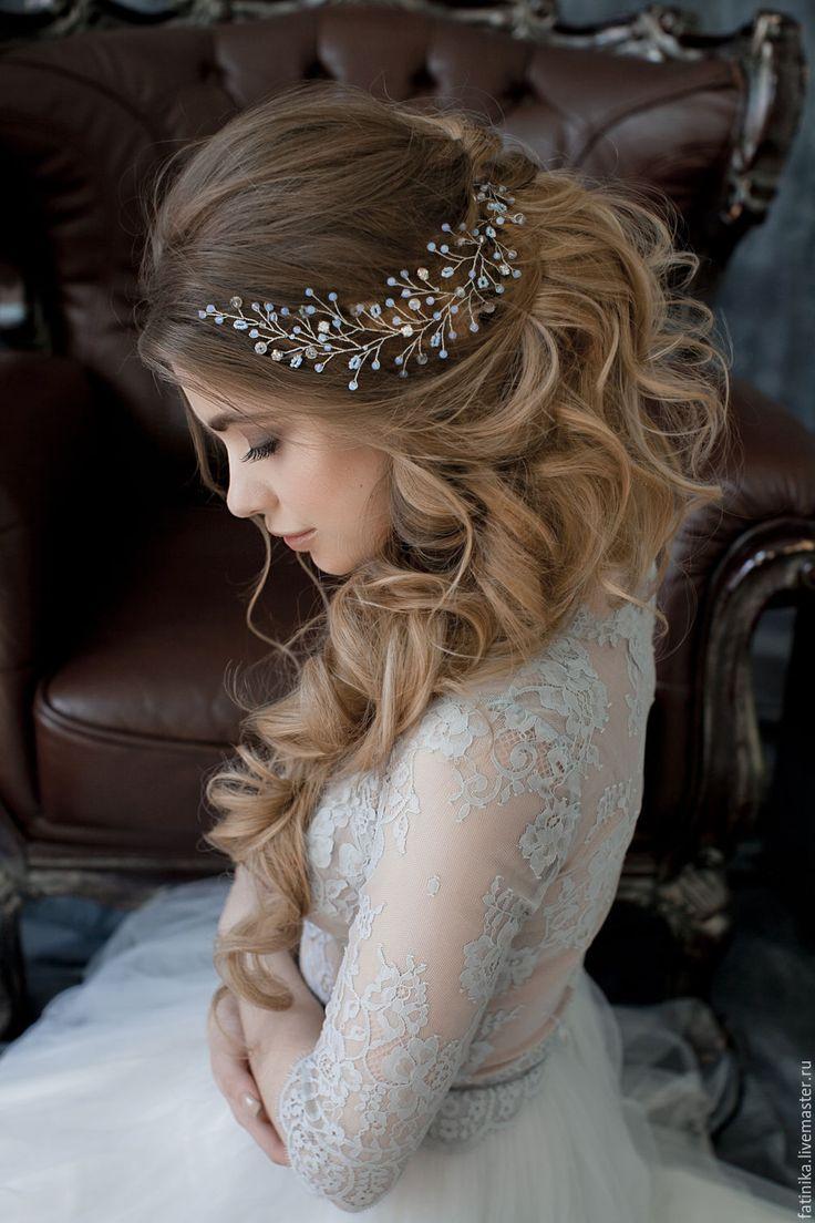 Купить Свадебная веточка из лунного камня / свадебное украшение прически - голубой, украшение для невесты