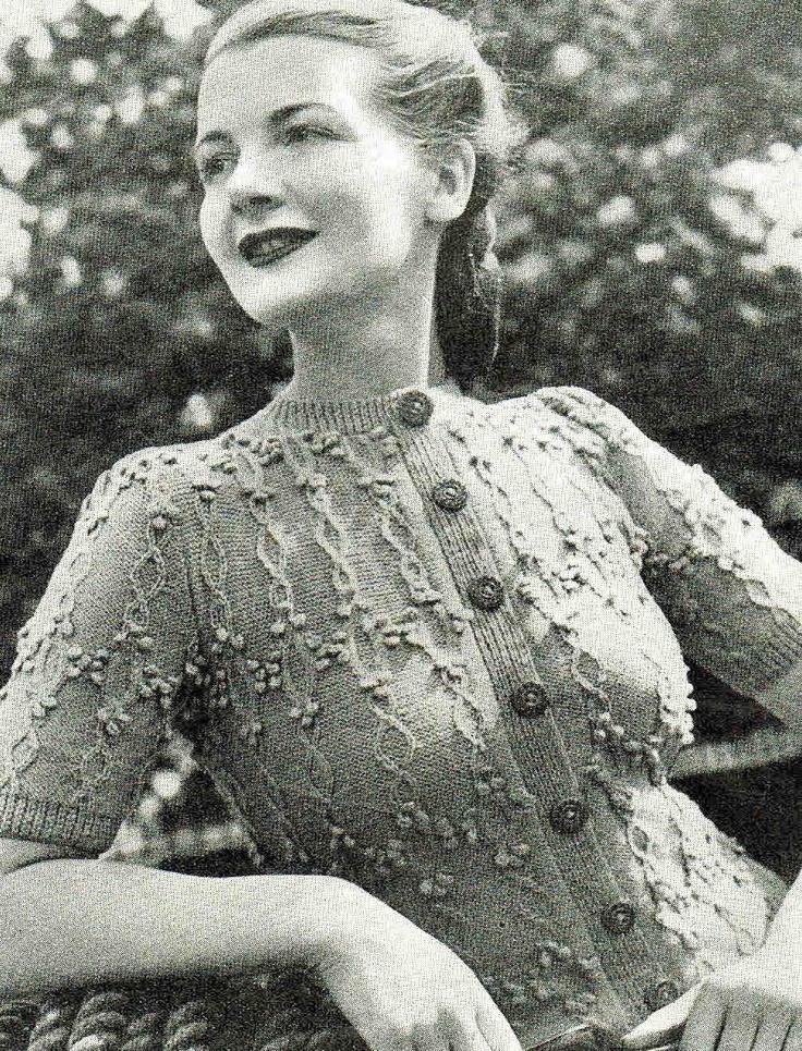 40s Miss Garland Cardigan- Unique vintage design- Australian vintage knitting...