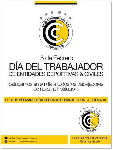 El viernes 5 de febrero, el Club permanecerá cerrado durante toda la jornada, con motivo del Día del Trabajador de entidades deportivas y civiles. Los esperamos durante todo el fin de semana largo como es habitual.