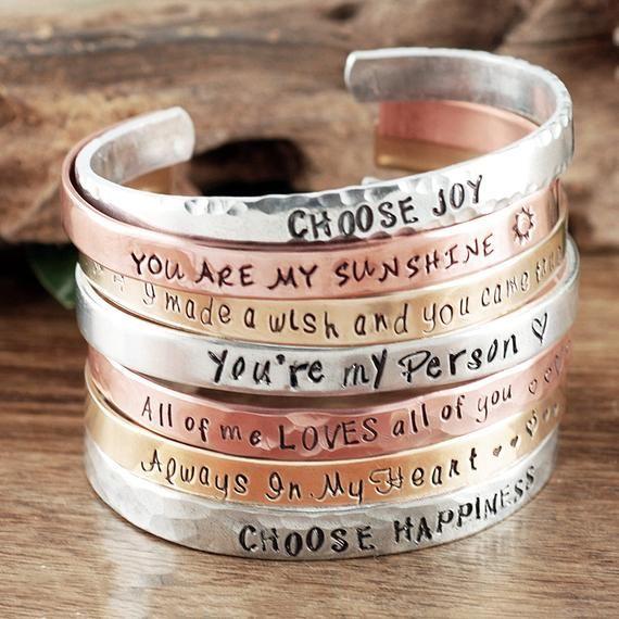 Inspirational Cuff Bracelets Quote Bracelets For Women Personalized Cuff Bracelet Inspirational Jewelry Positive Affirmations Bracelet Quotes Personalized Cuff Personalized Cuff Bracelets
