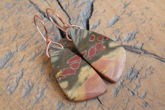 Kleurrijke jaspis edelsteen oorbellen met puur koperen