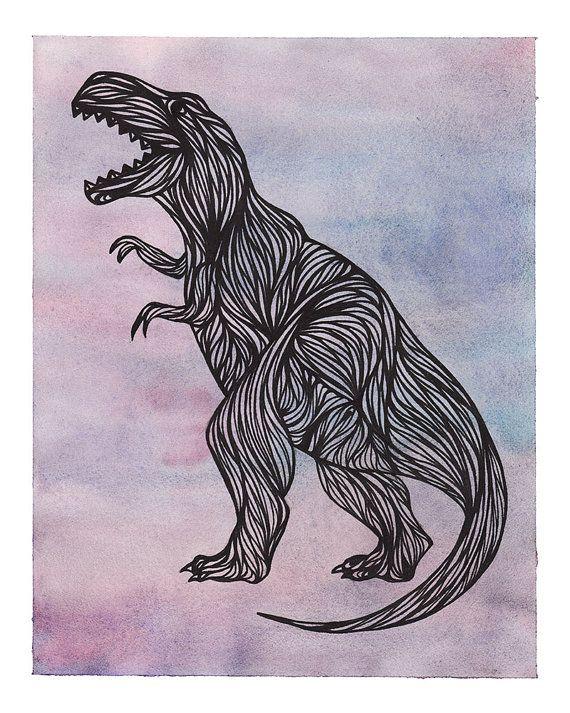 Tyrannosaurus Rex TRex Dinosaur Illustration Print by AtomicWhale, $22.00