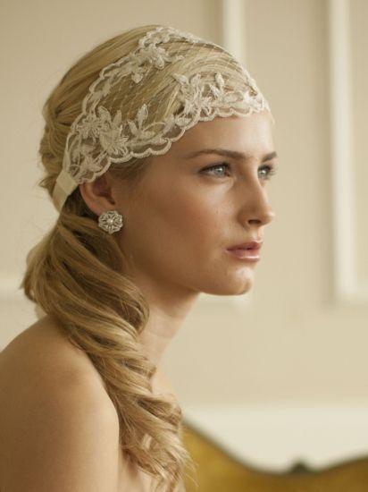 Bridal ribbon - Lace luxury Superfint hårband i spets för romantiska eller bohemiska bruden!