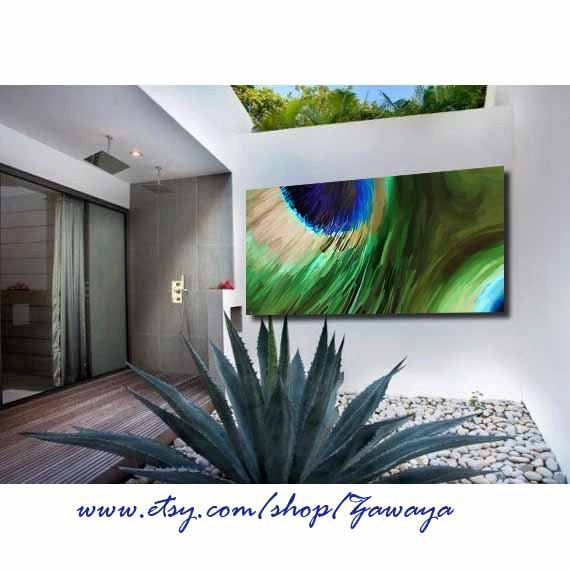 stretched canvas art peacock painting printblue green beige home decor interior design, peacock feather paiting on canvas design#13