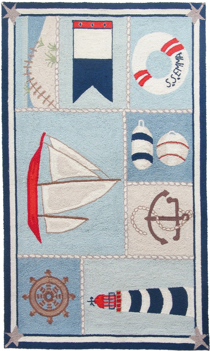 Ship Shape By Cynthia Maccollum Nautical Theme Rug In Polyester Hook It Comes 5