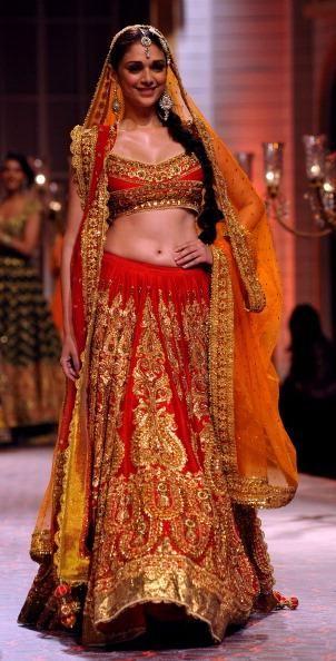 Aditi Rao Hydari showcases a creation by designer Preeti S. Kapoor during the Aamby Valley India Bridal Fashion Week.