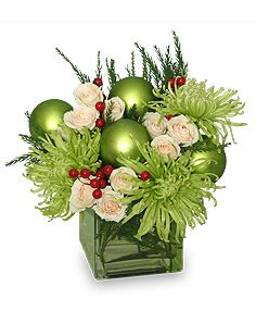 Glam Green Christmas Flowers from Dragonfly Flowers in Winnipeg