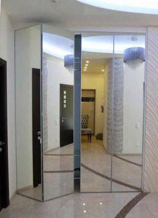 складные зеркальные двери в гардеробную - изготовление и продажа в СПб