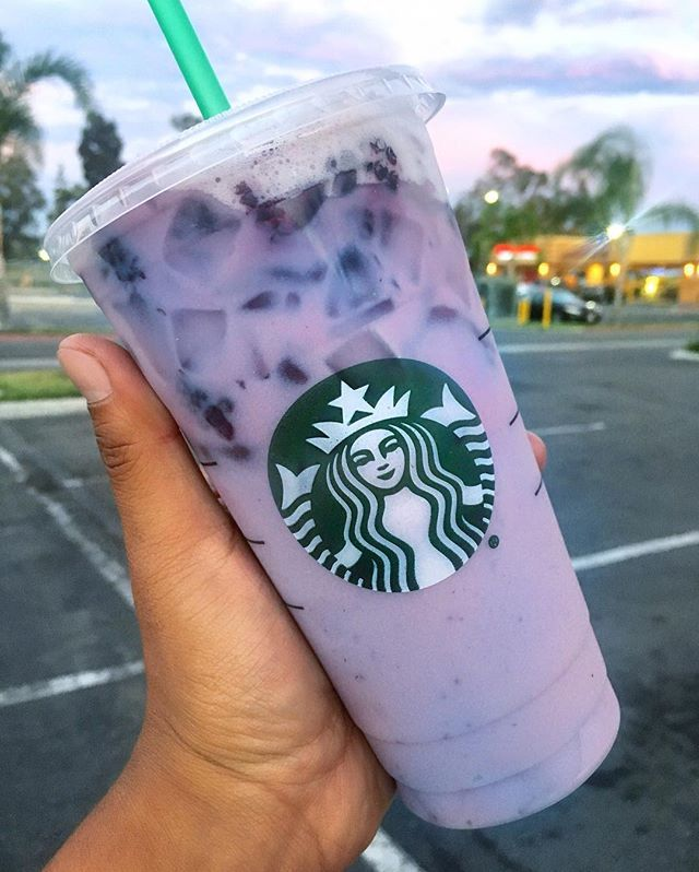 Starbucks' PURPLE DRINK - Tell Your Barista You Want: A Teavana Iced Passion Tango Tea with soy milk instead of water, vanilla syrup, and blackberries.