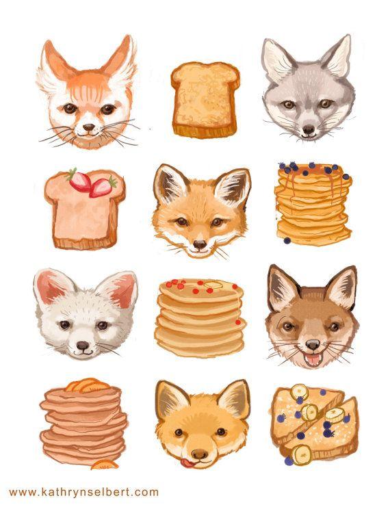 Fine Art Print - volpi pane tostato e frittelle illustrazione