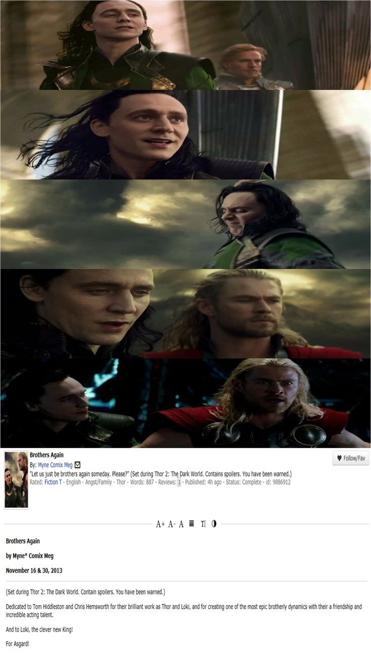 """READ THIS! """"Brothers Again"""" awesome #thor2 #fanfiction - Rated G - but prepare your feels! (click for link to full story) <--- Oh dear.... that was sad...."""