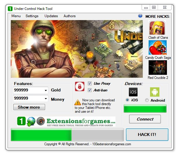 Under Control Hack Gold Money Tricher - 100 Extensions for Games