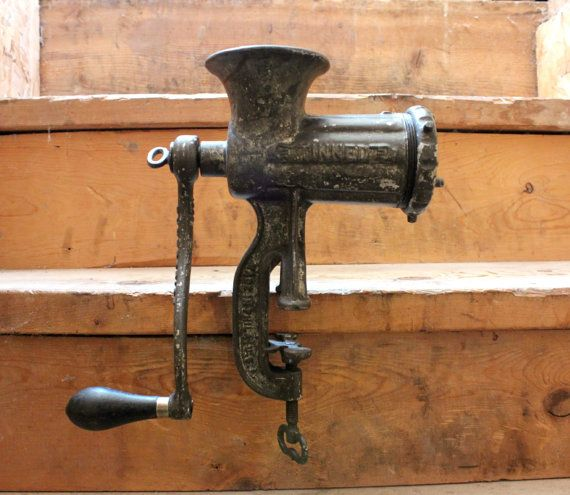1880 S Cast Iron Sausage Meat Grinder Antique Tinned