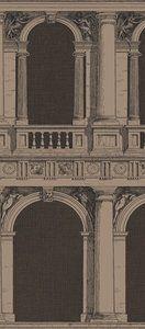Behang Procuratie van Fornasetti is een klassiek behang van een romijnse galerij. Er is ook een versie met aapjes. En hiermee kunt u onderling prima een baan afwisselen.