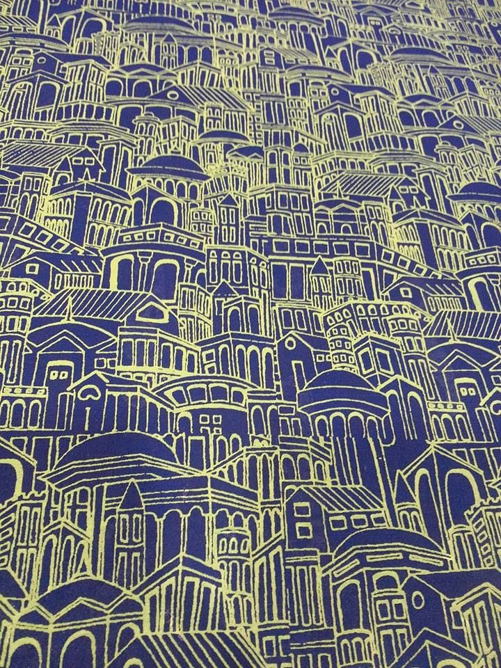Yellow buildings in blue. Stole in georgette #printedstoles #stoles #gerogette