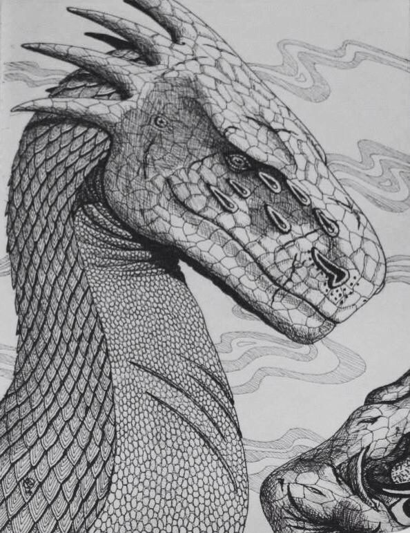 Concept sketch for an A2 artwork. A bull Mughaar Dragon
