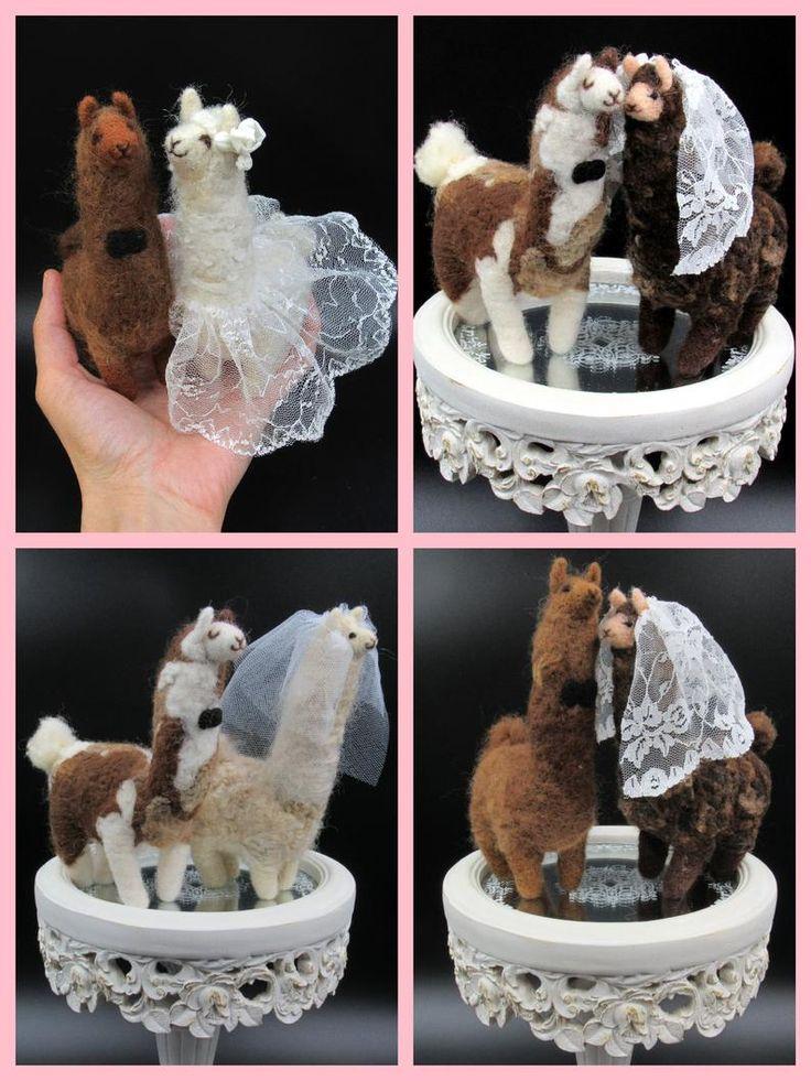 Alpaca wedding cake topper groom and bride llama needle
