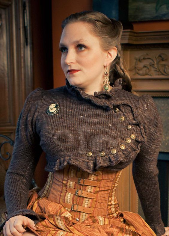 Knitting Pattern for Cameo Spencer Jacket - Cropped sweater knit bottom up with set in puffed sleeves by Sarra Loew is one of the 24 steampunk inspired patterns in Needles and Artifice.