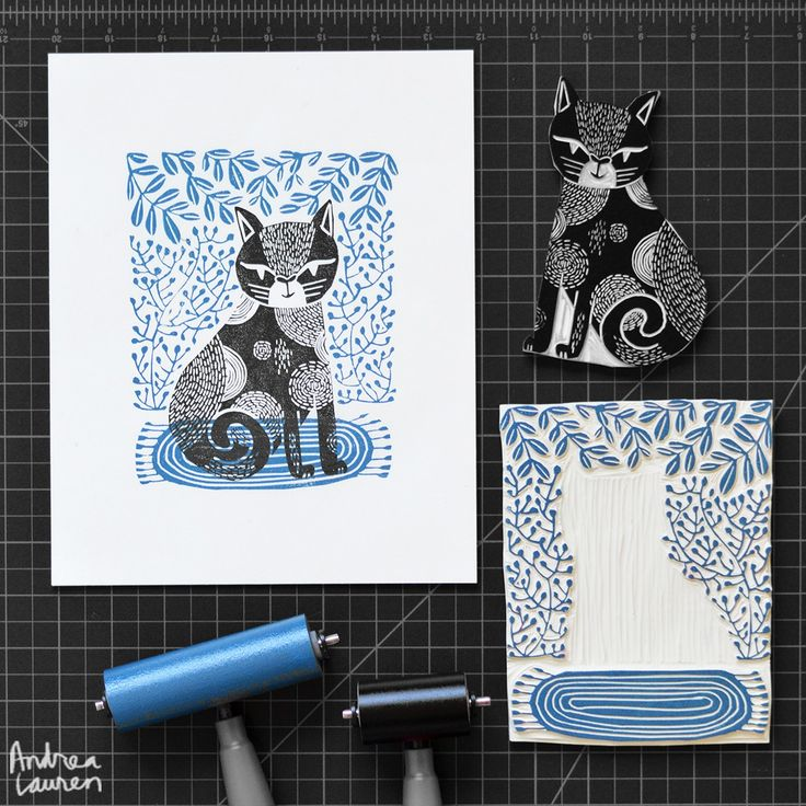 Cat : Original Block Print by Andrea Lauren