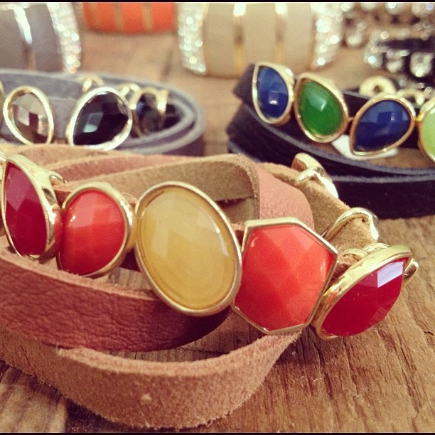 A must have for spring..jeweled leather bracelets!