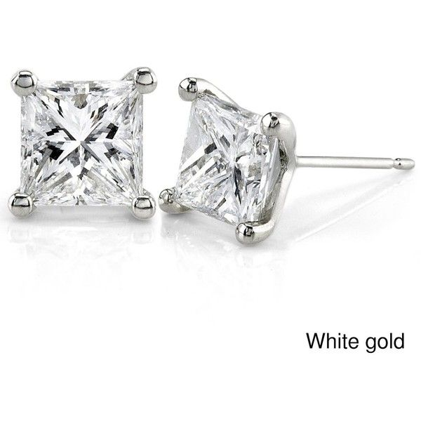 Annello by Kobelli 14k Gold 2ct TDW Princess Diamond Earrings ($7,811) ❤ liked on Polyvore featuring jewelry, earrings, white, yellow gold diamond earrings, 14 karat gold earrings, gold diamond earrings, princess cut diamond earrings and 14k yellow gold earrings