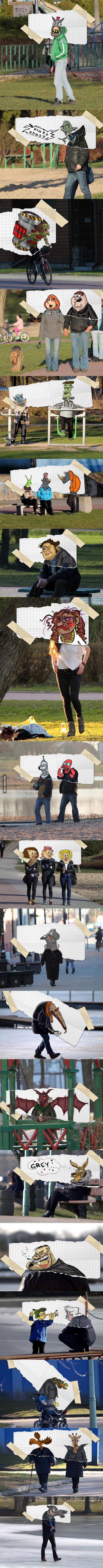A guy in Suwalki, Poland combines photos with his awesome drawings