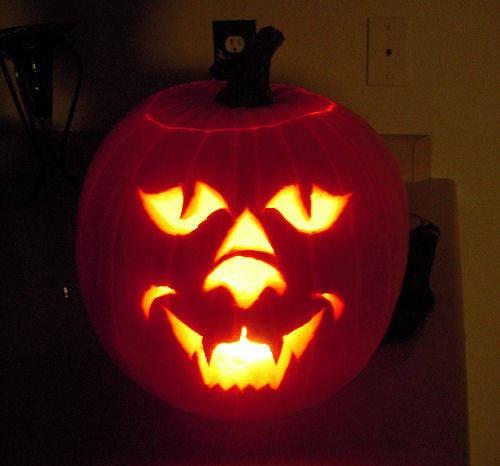 Cat Face Carved Pumpkin Pattern