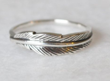 Boho Chic Feather Ring Sterling Silver Ring by ShopZYLA
