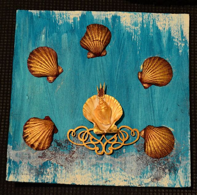 The Sea Queen - 25x25 cm mixed media card with marine theme