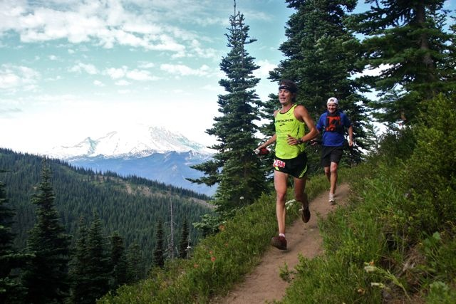 Scott Jurek and Scott McCoubrey rocking some trails.