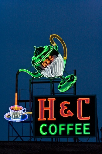 H Coffee Sign over Downtown Roanoke, Virginia