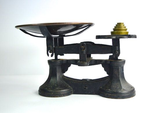 Victorian Kitchen Scales Vintage Weighing Scales Vintage Kitchen Vintage Brass Imperial Weights Brass VR by FillyGumbo