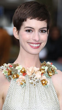 Anne Hathaway looking gorgeous in her short pixie cut.