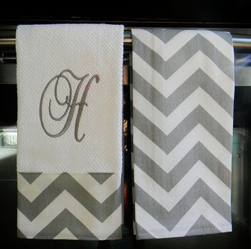yellow and gray bathroom ideas | Gray and White Chevron Monogrammed Dish Towels by Designs By Them ...