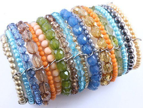 """Gorgeous Chunky ARM Full of Multi-color Glass/lucite Faux Pearl Cuff Bead Bracelet SABZ JEWELRY. $29.99. MAKES A WONDERFUL GIFT IDEA OR TREAT YOURSELF; bracelet measure 4"""" TALL; GORGEOUS CUFF DESIGN; GLASS BEAD DESIGN; GORGEOUS GLASS/FAUX PEARL BEAD CUFF BRACELET"""