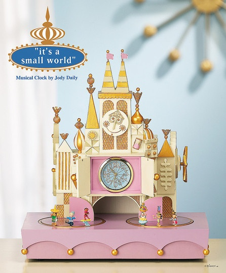 """It's a Small World"" themed musical clock. On my wish list of things I don't need but certainly would like to play with. #itsasmallworld #maryblair #disney"