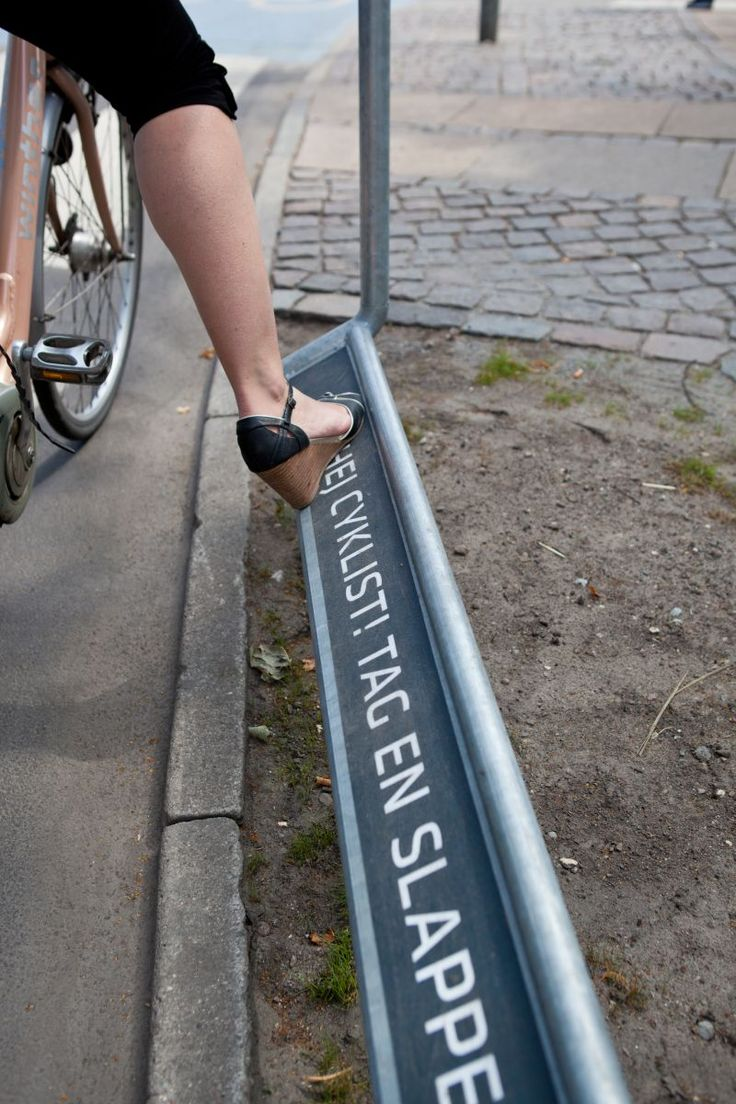 New Copenhagen foot-rests. A treat for cyclists waiting at the red light !