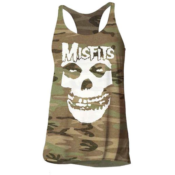 Impact Merchandising Camo 'Misfits' Racerback Tank ($15) ❤ liked on Polyvore featuring tops, camo top, racerback tank, racerback top, camo racerback tank top and camo tank tops