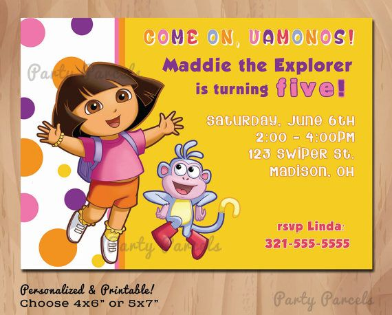 Personalized Bithday Invitation - DORA the Explorer - Boots - Polka Dots - 4x6 or 5x7