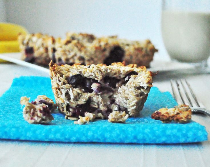 Blueberry Baked Oatmeal.  Eat your oats on the go with this yummy breakfast. Vegan.