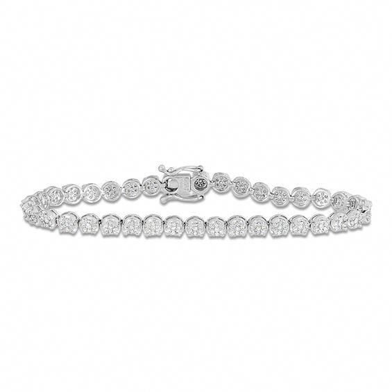 1 Ct T W Diamond Tennis Bracelet In 10k White Gold Tennisbracelets Sparkly Bracelets Tennis Bracelet Diamond Bracelets Gold Diamond