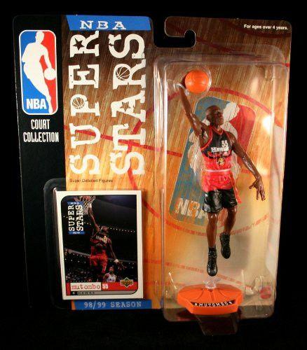 DIKEMBE MUTOMBO / ATLANTA HAWKS * 98/99 Season * NBA SUPER STARS Super Detailed Figure, Display Base & Exclusive Upper Deck Collector Trading Card