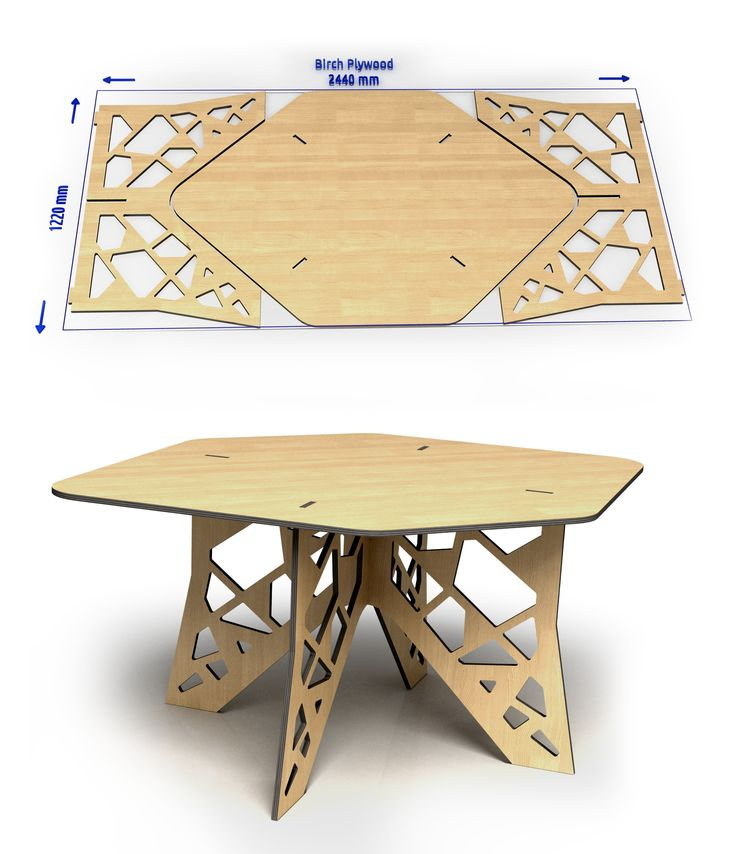 Birch plywood sheet  to the table.