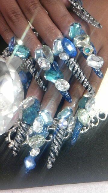 Blue & silver nails: Just Kidding, Glam Nails, Silver Nails, Art Designs, Blue Silver, Olivia S Faves, Parties Weddings, Nail Art