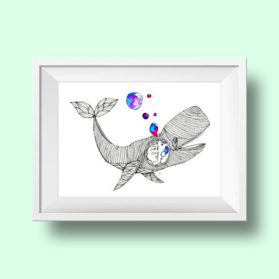 Bubble Whale Art Print walvis illustratie van amberdelahaye op Etsy