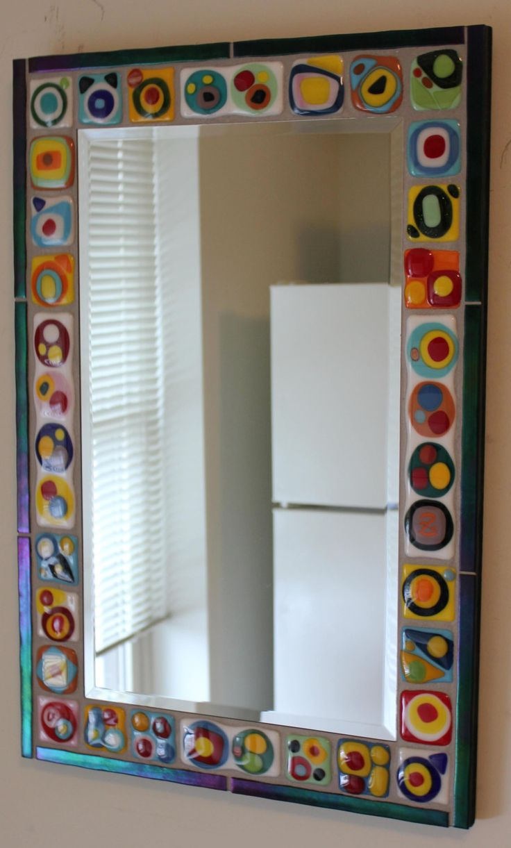 Mosaic Art Mirror Glass Abstract Colorful by GlassArtsStudio