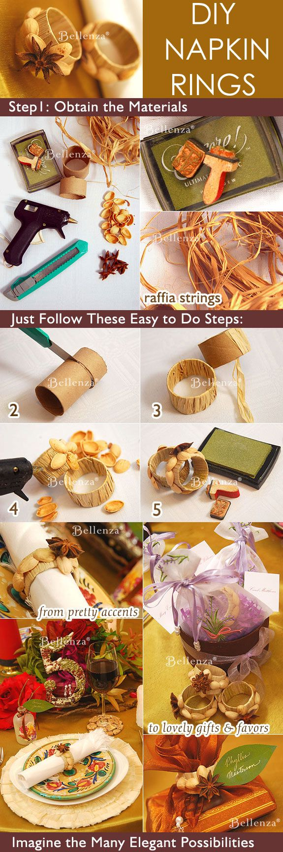 DIY napkin rings - made with raffia, pistachio shells, and star anise